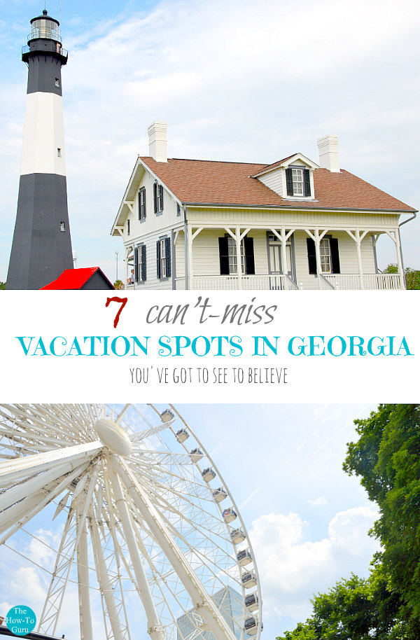 view of vacation spots in Georgia - lighthouse and ferris wheel