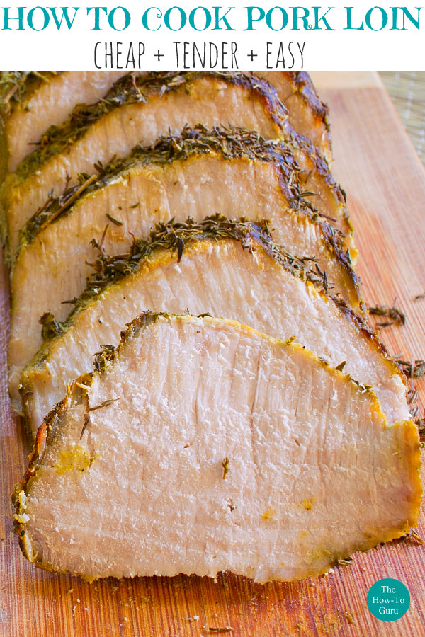 close up of oven cooked pork loin sliced with seasoning on top