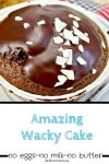Her delicious recipe for Wacky Cake recipe that's egg free, milk free, butter free dairy free AND cheap!
