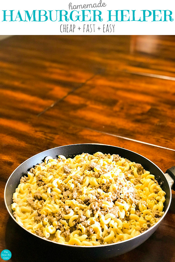 white plate of homemade hamburger helper on wood table