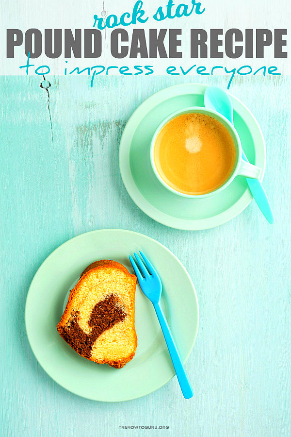 close up of pound cake recipe with coffee