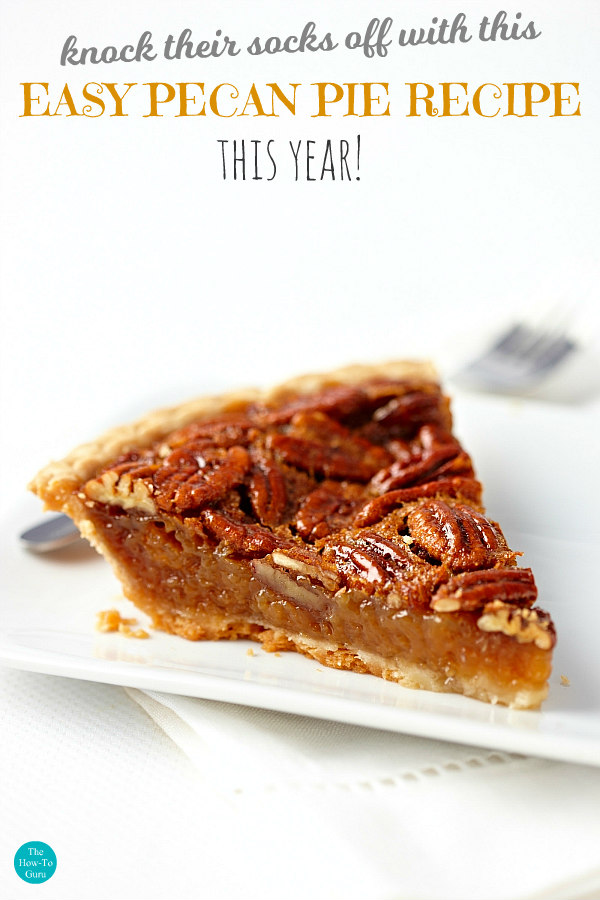 close up of one slice of southern pecan pie
