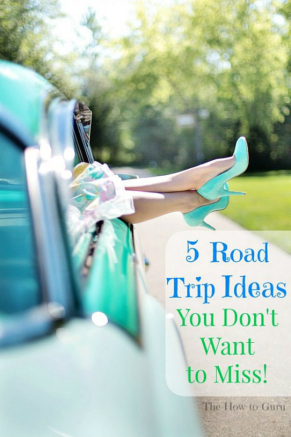 view of road trip ideas teal car and woman's teal heels hanging out window