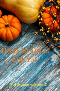 1st Day of Fall: All Things Pumpkin & Pampering Giveaway Ends Tonight!