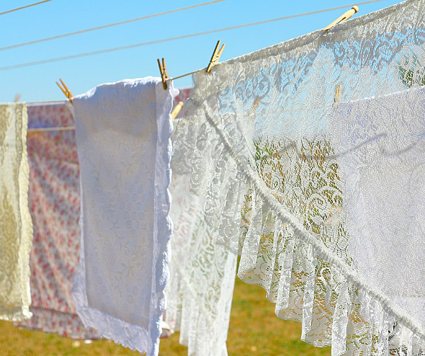 view of laundry on a clothesline for how to keep house clean