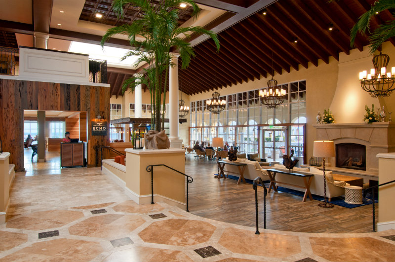 View of the spectacular King and Prince Beach Resort Lobby and ECHO Restaurant Entrance on St. Simons Island Georgia