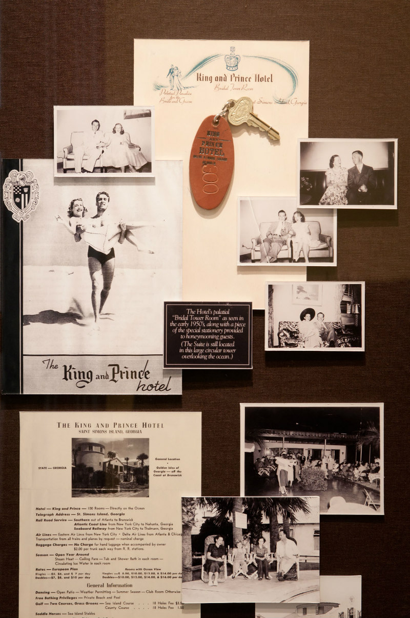 King and Prince Beach Resort History on Memorabilia Wall in the St. Simons Island Lobby