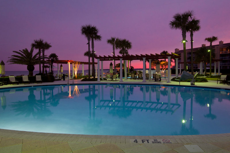 BEST things to do on St Simons Island with older kids - King and Prince Pool at Sunset