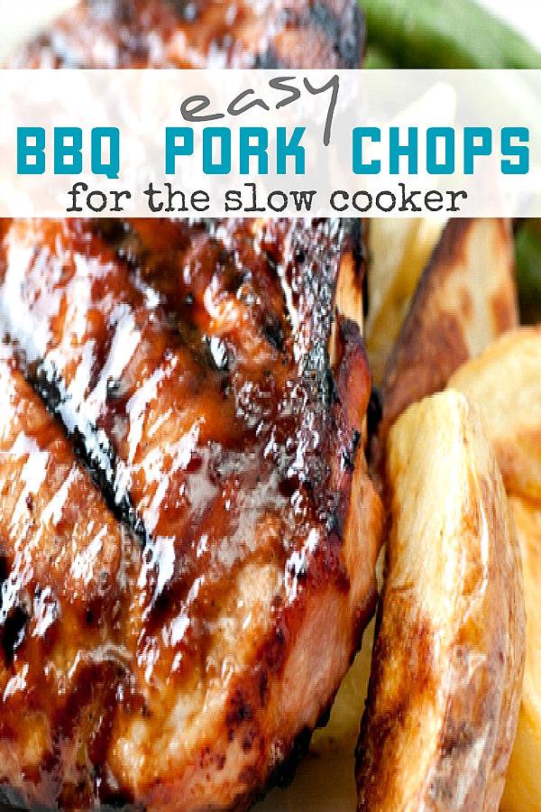 close up of slow cooker pork chops