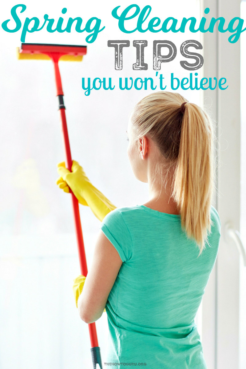 Spring cleaning tips showing a woman cleaning windows with yellow gloves on