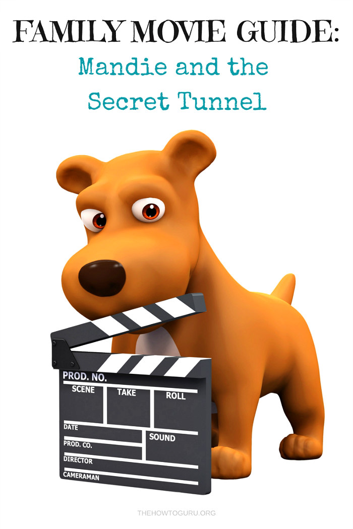 Mandie and the Secret Tunnel Dog shown holding a movie clipboard