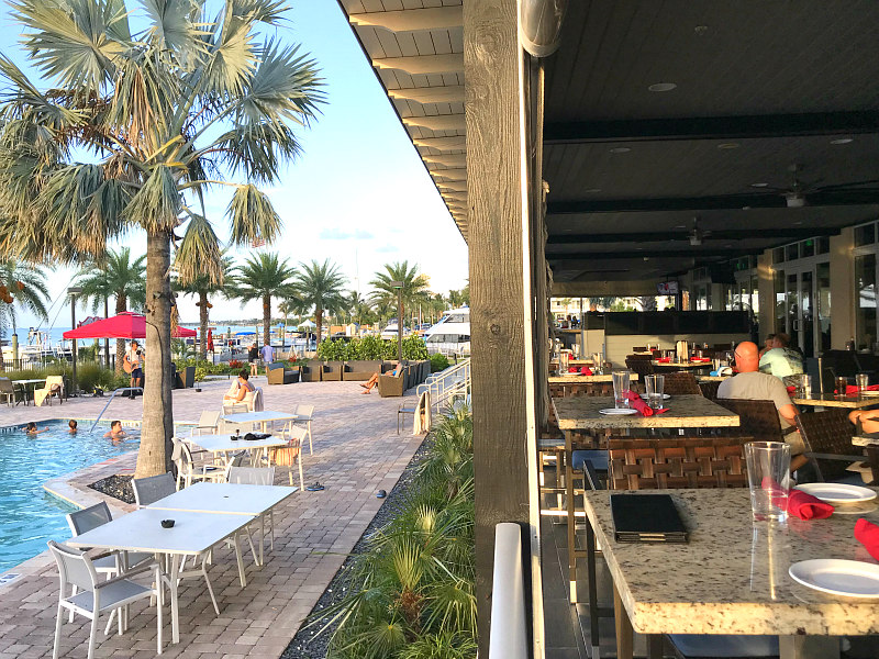 view of split look of Lighthouse Grill Restaurant and waterfront view of Faro Blanc Marina