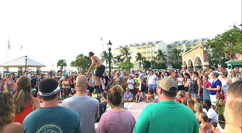 view of Mallory Square performer in Key West vacation ideas