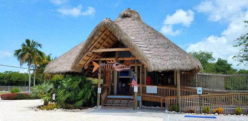 view of the Florida Keys Aquarium Encounter Tiki Hut Entrance