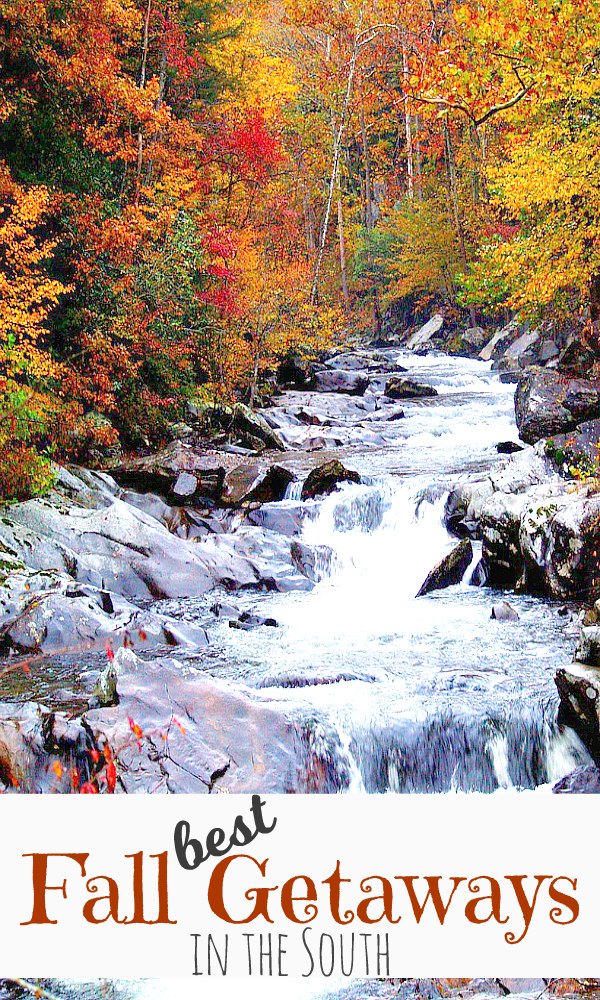 view of Tennessee Rapids & fall foliage - best weekend getaways in the south