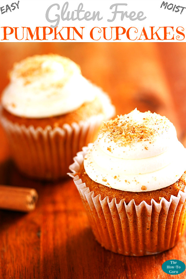 Gluten-free Pumpkin Cupcakes on wood table