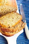 close up of gluten free banana bread recipe