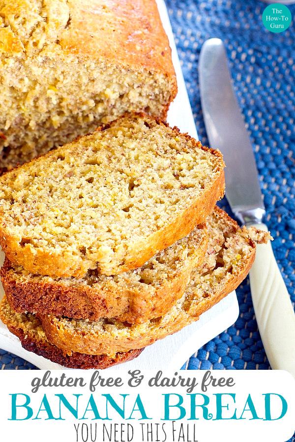 close up of gluten free banana bread