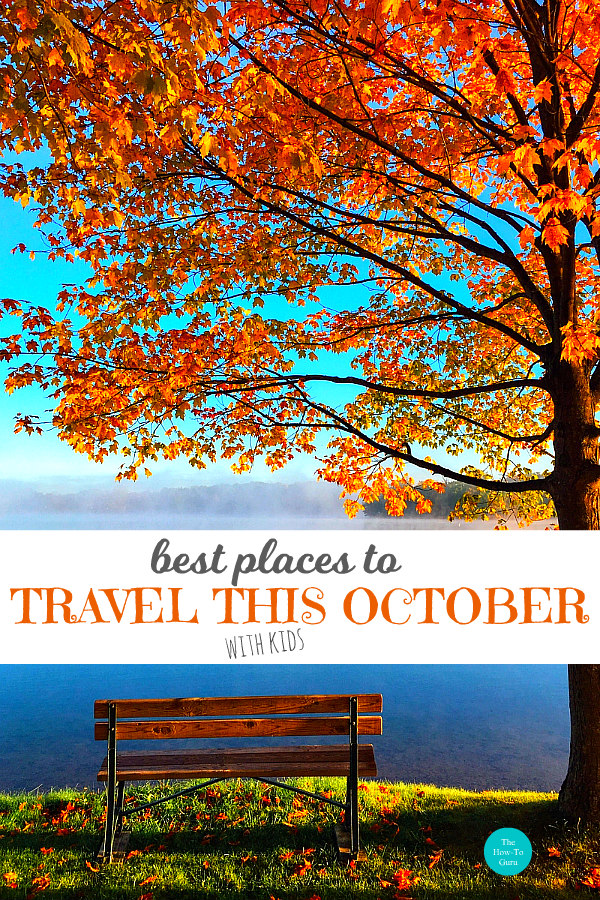 best places to travel in october image of lake, fall tree, & bench