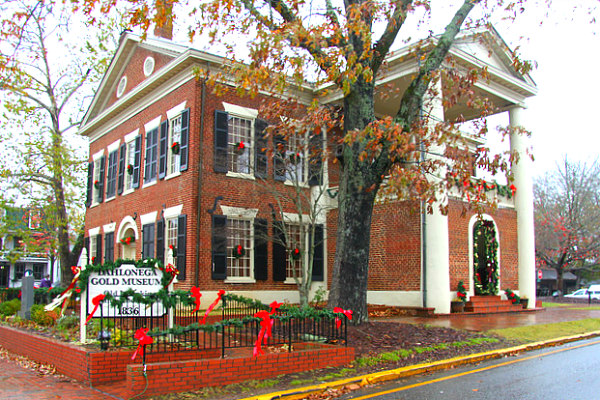 view of Dahlonega Gold Museum at Christmas as one of the best places to go in the southern states