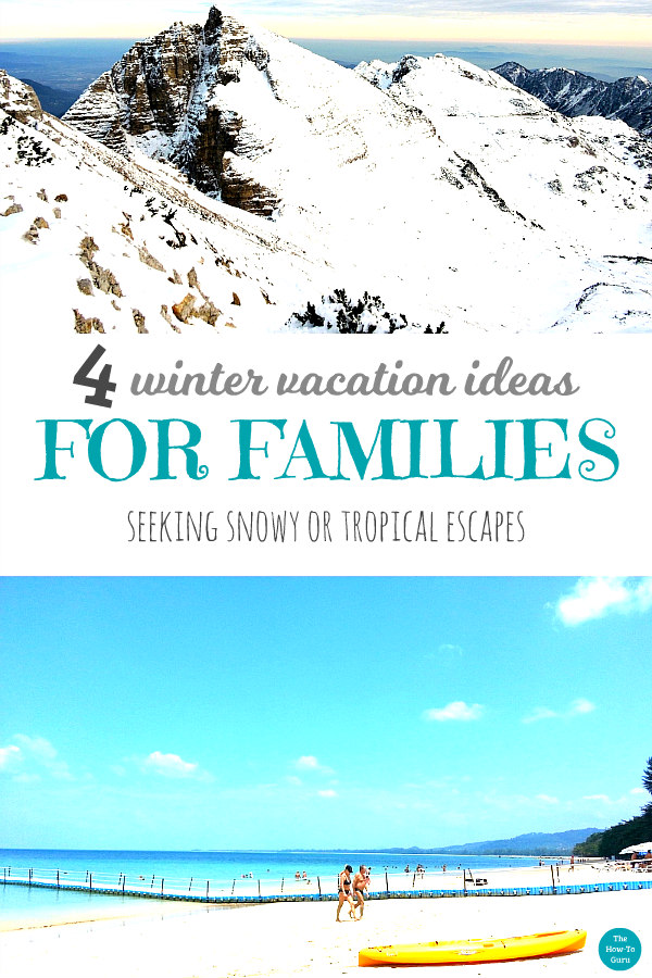 view of snowy & tropical winter vacation ideas
