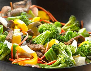 how to make beef stir fry close up of meat and veggies in a skillet