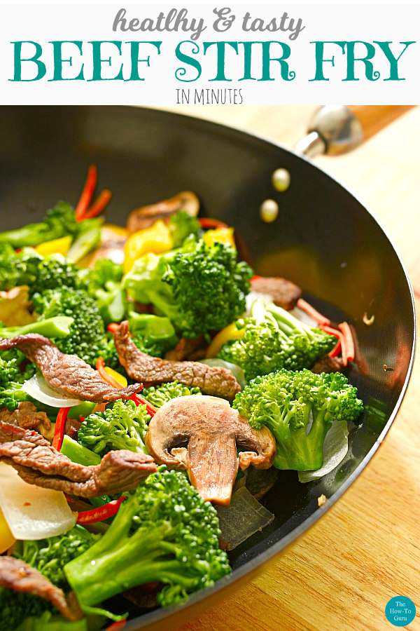 close up of beef stir fry in the skillet