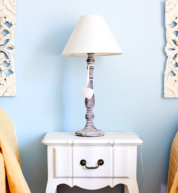 view of white lamp shade and side table - how to clean lamp shades