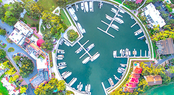 aerial view of Harbour Town, things to do in Hilton Head Island