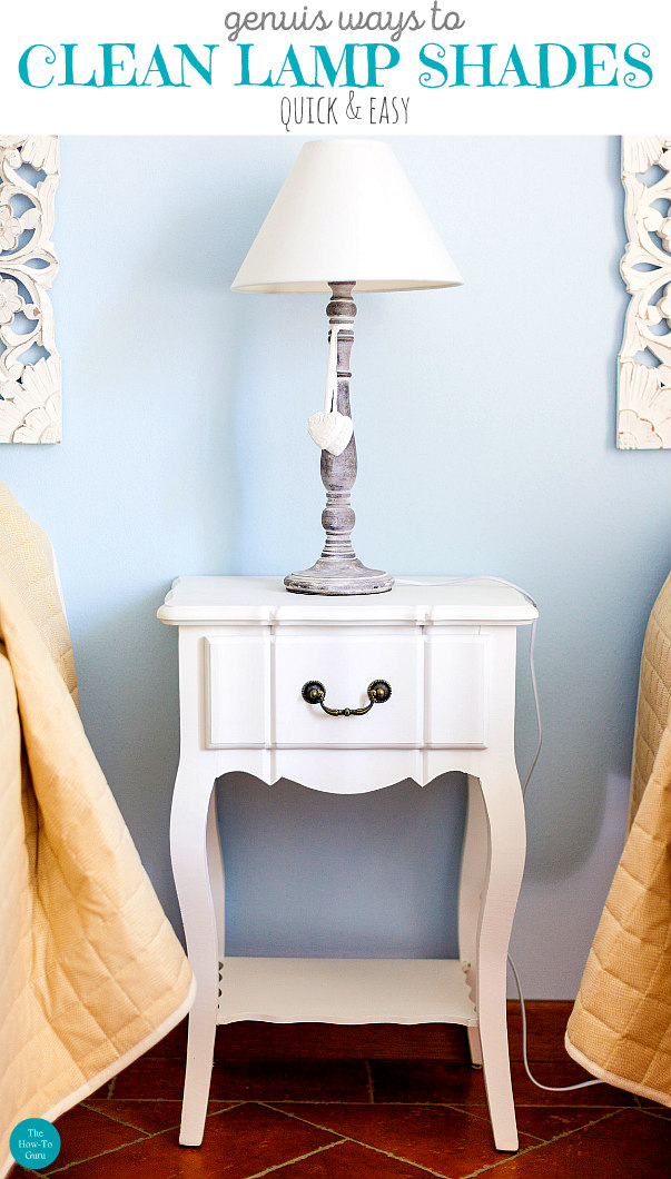 view of white and silver lamp on bedroom side table - How To Clean Lamp Shades