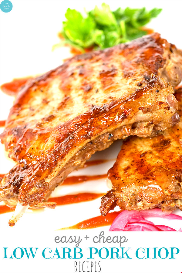 view of low carb pork chop recipes - barbecue pork chops on plate