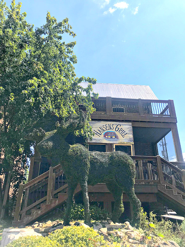 Hansen's Grill Restaurant and Moose hedge out front - Blue Ridge Mountains Vacation for families