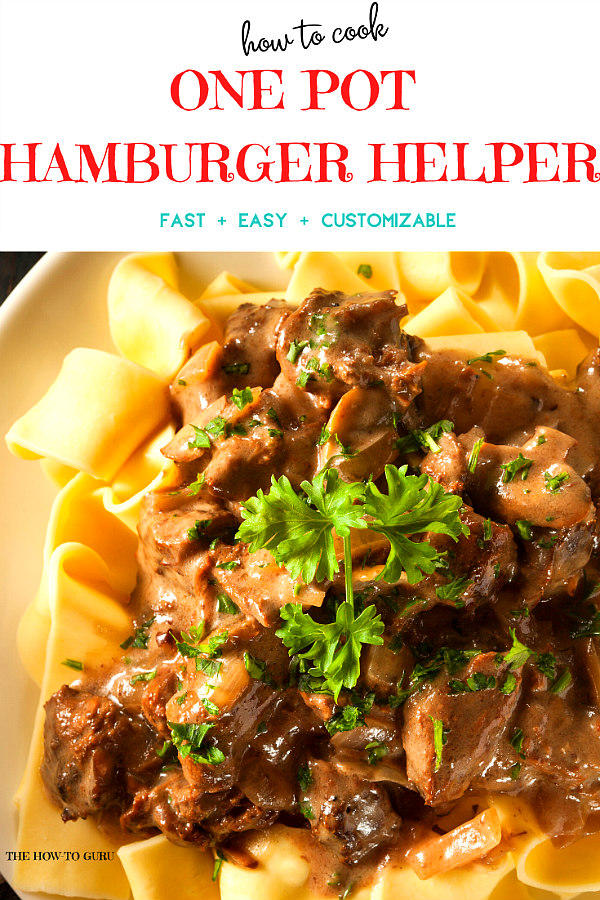 white plate with egg noodles and hamburger helper beef stroganoff