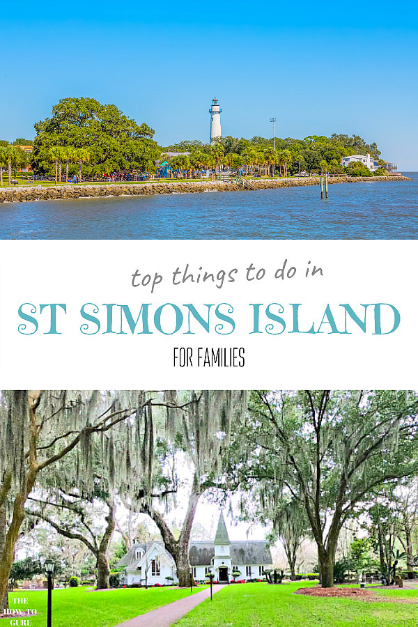 St. Simons Island coastline and lighthouse on top and Christ Church and green lawn on bottom.