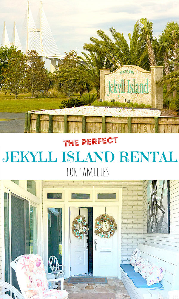 Jekyll Island Rental beach cottage front porch and the Jekyll Island Georgia entrance sign on a small pond