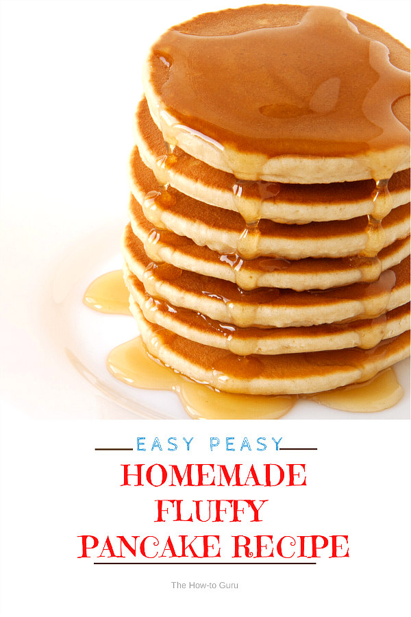 stack of buttered pancakes and syrup on a white plate