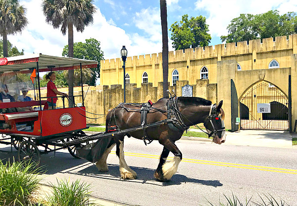 Beaufort South Carolina Arsenal building and horse and carriage