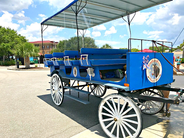 Blue carriage with white spoked wheels in Beaufort SC - Southern Rose Tours
