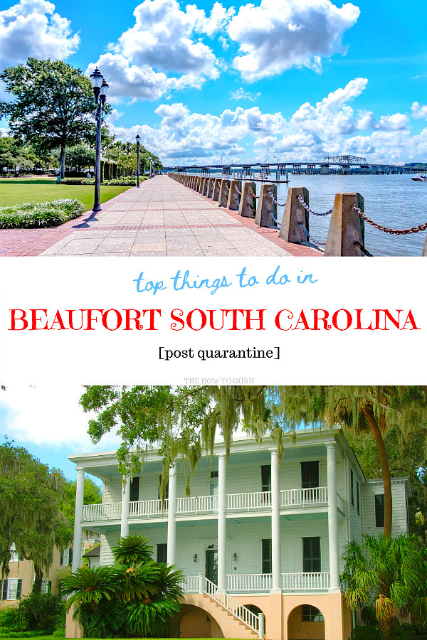 Beaufort SC green park space, marina and harbor with an antebellum two story white home under hanging trees
