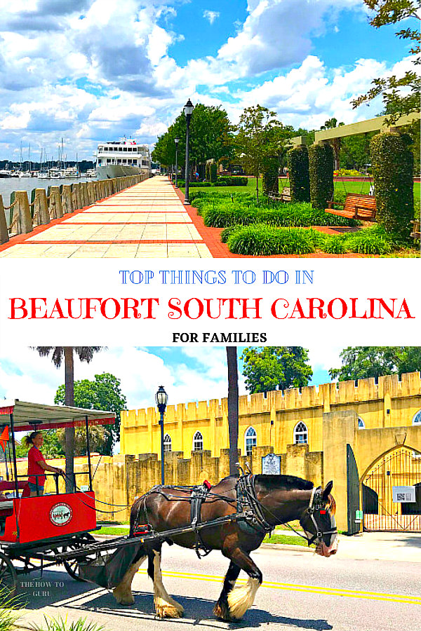 marina, sidewalker, greenery, and swings with horse and carriage in front of Beaufort South Carolina Artillery
