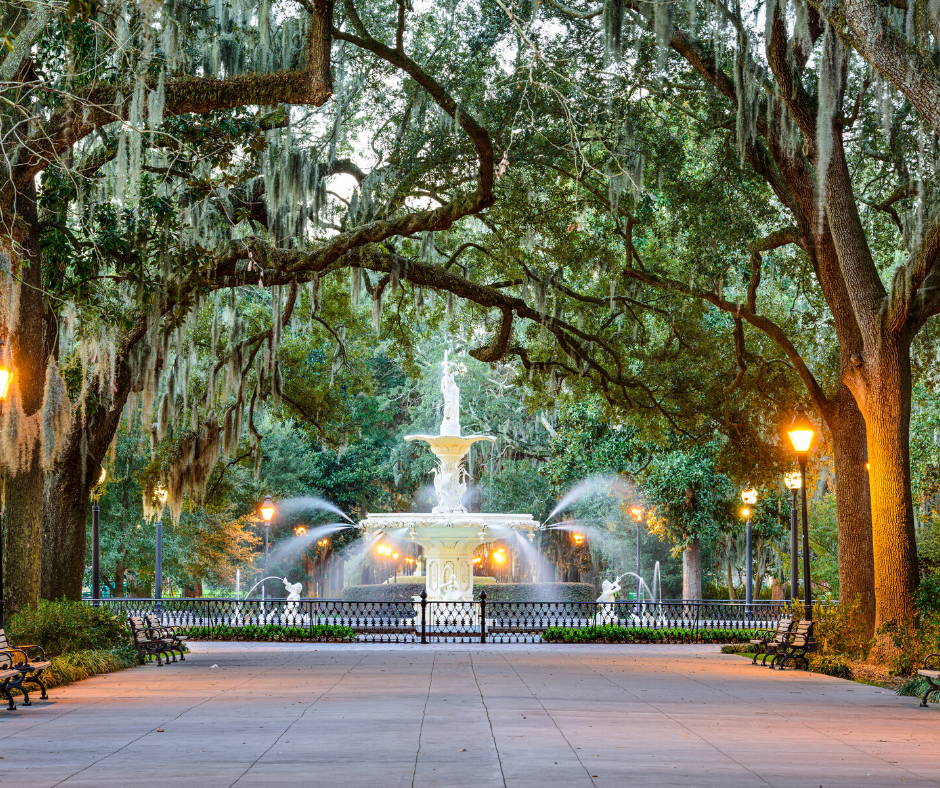 Savannah Forsyth Park Fountain surrounded by black fence and covered by a canopy of trees