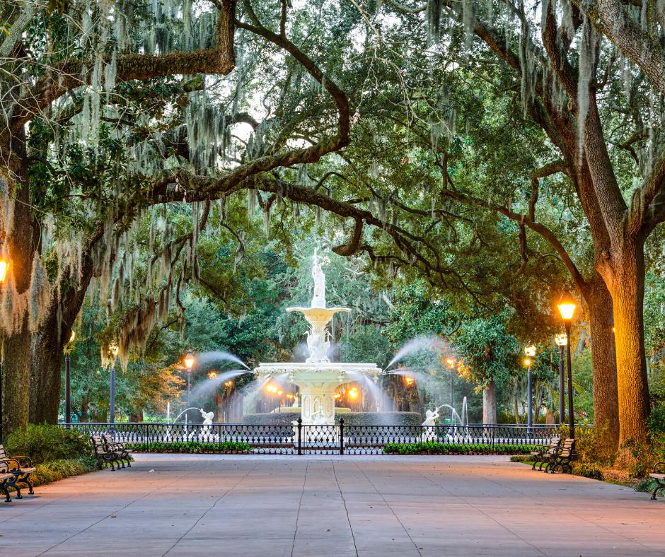 Savannah Georgia Forsyth Park Fountain with a canopy of trees overhead