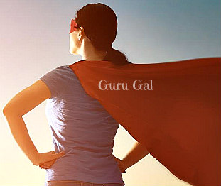 the How-to Guru Gals image of woman facing sunset with hands on hips and wearing a red cape