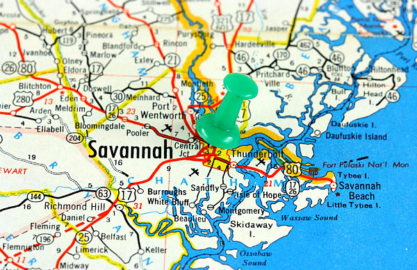 close up of colorful Savannah Georgia map