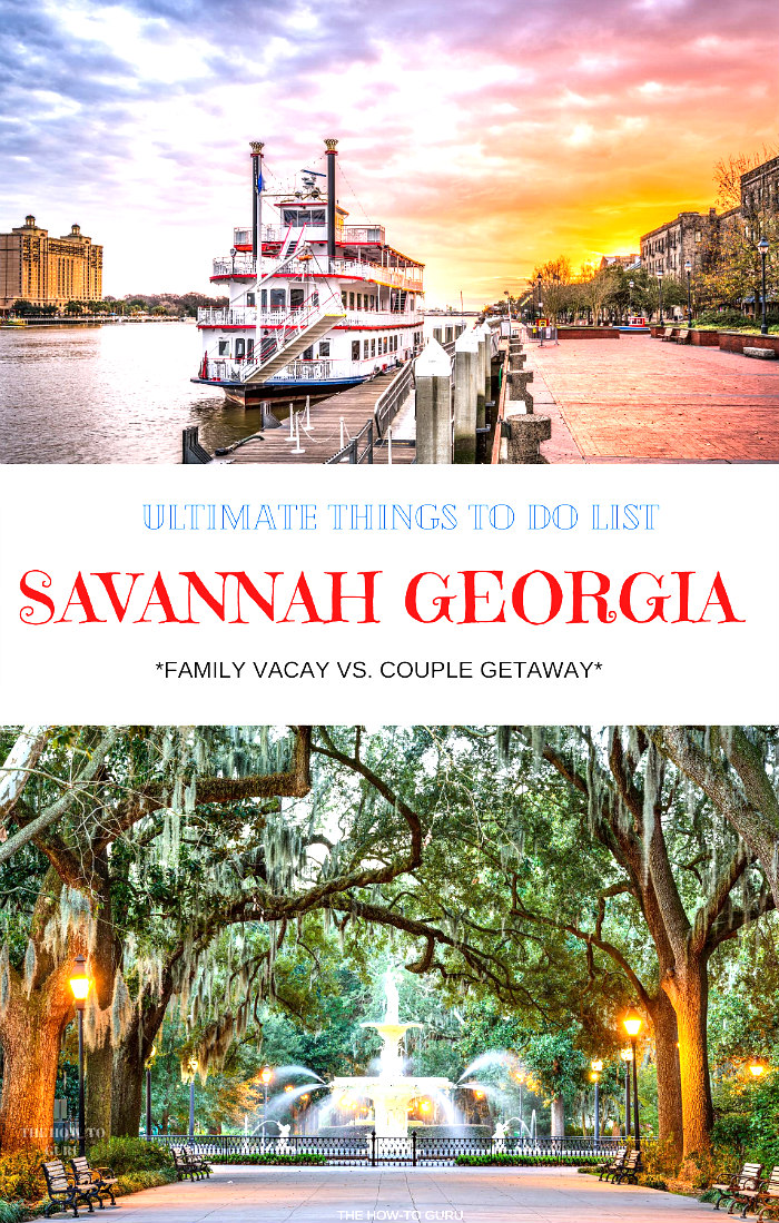 Ultimate things to do in Savannah GA with kids VS as a couple banner over image of Savannah Riverboat in water with hotel and sidewalk in background