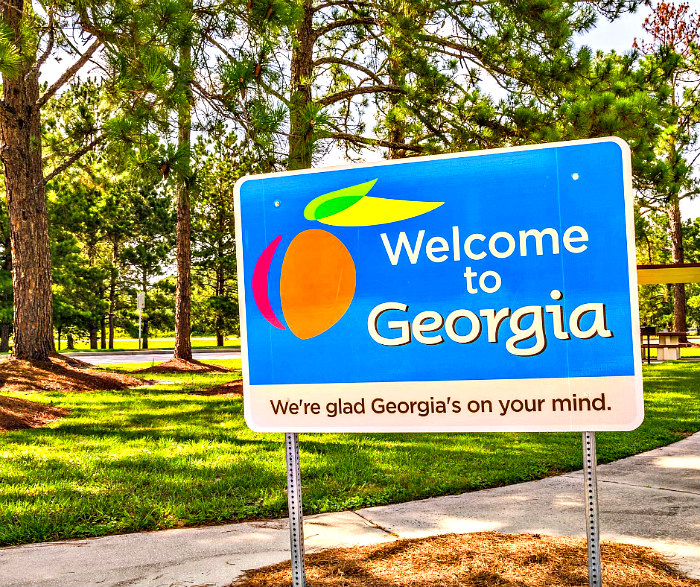 Blue, white, orange, green, and pink Welcome to Georgia sign in front of pine trees and grass