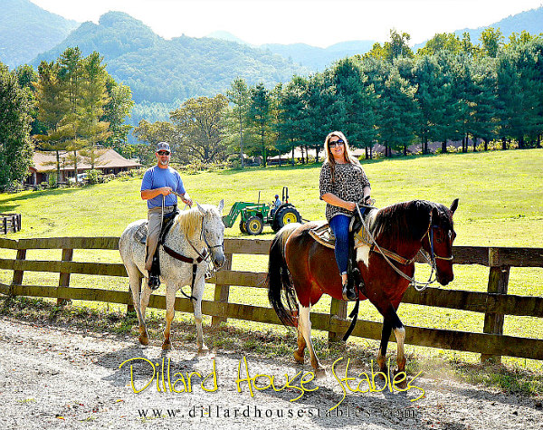 couple on horseback with lawn, trees and mountains in background